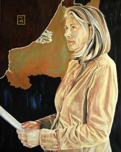 Rebecca Carron, De premier, olie op doek, 150x120cm, 2016
