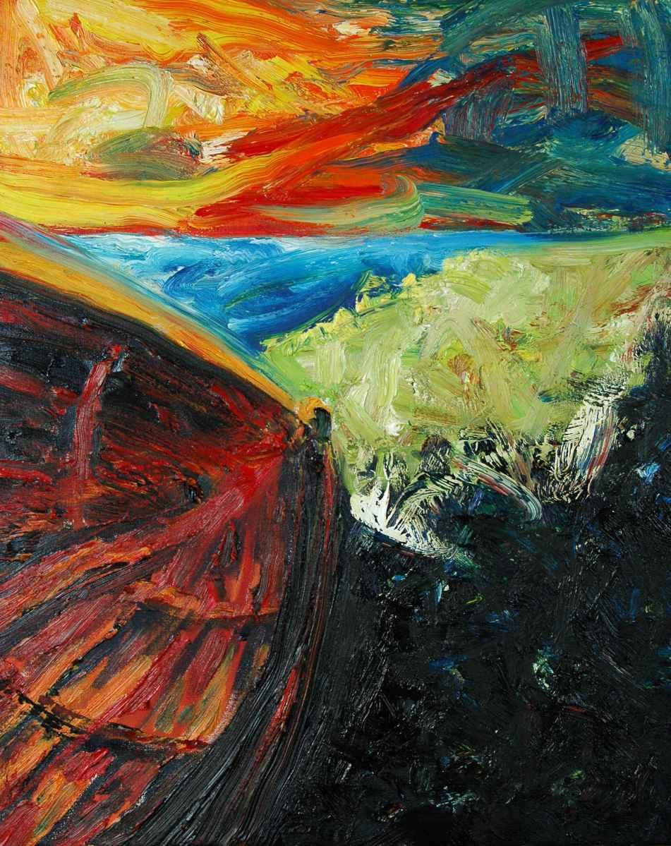 Olieverfschilderij De rode sloep