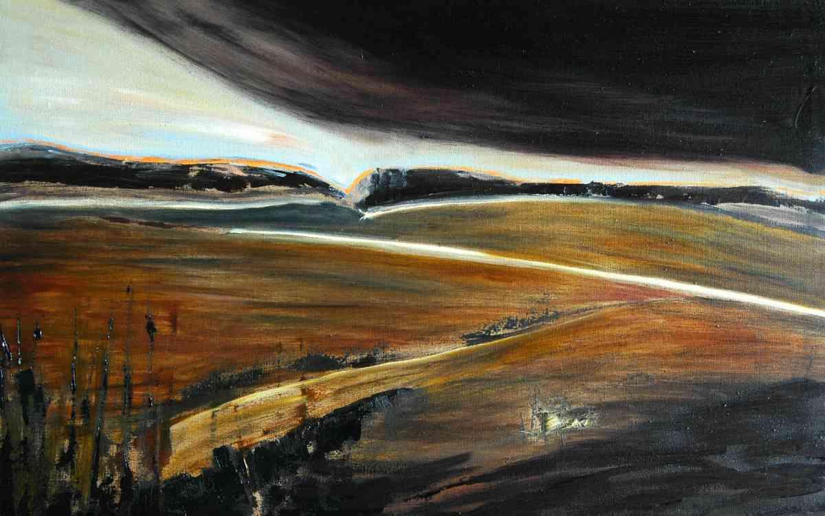 Olieverfschilderij Glooiend landschap na de nacht
