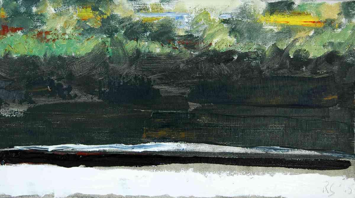 Olieverfschilderij Groen aan de overkant