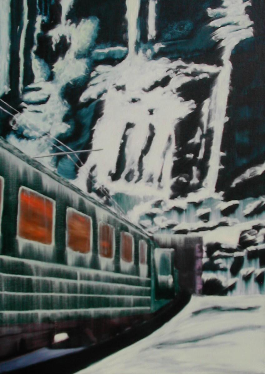 Olieverfschilderij Trein in de sneeuw