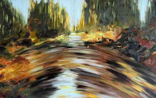 Olieverfschilderij Stromend water in bos