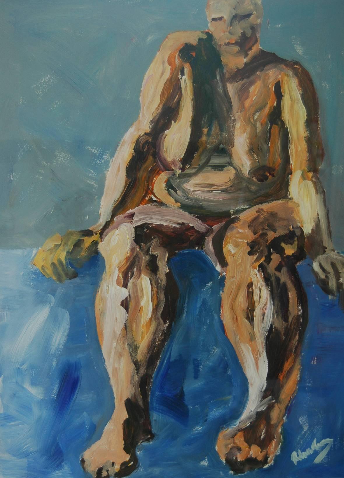 Acrylverfschilderij Zittend naakt