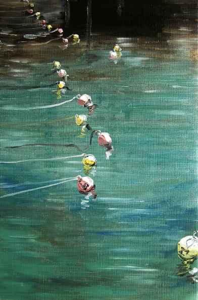 Olieverf schilderij Boeien dobberend in de haven