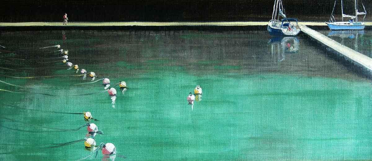 Olieverfschilderij Windstil in de haven