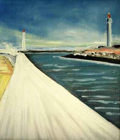 Olieverfschilderij Pier en vuurtorens