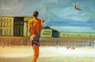 Olieverfschilderij Op het strand met de vlieger