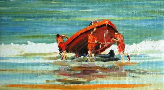 Olieverfschilderij Jonge redders met hun boot