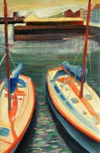 Olieverfschilderij Twee luie zeilboten