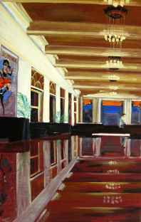 Olieverf schilderij Interieur hotel