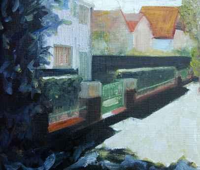 Olieverfschilderij Huis in de zomerschaduw