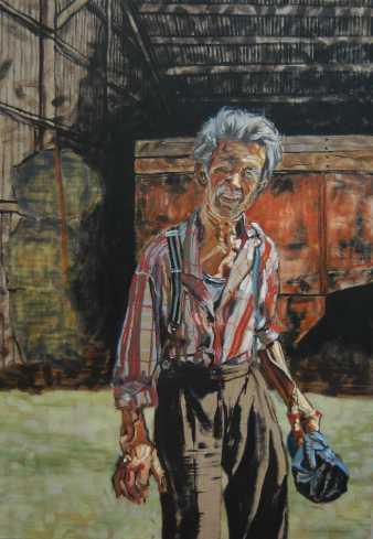 Olieverschilderij De boer op zijn erf