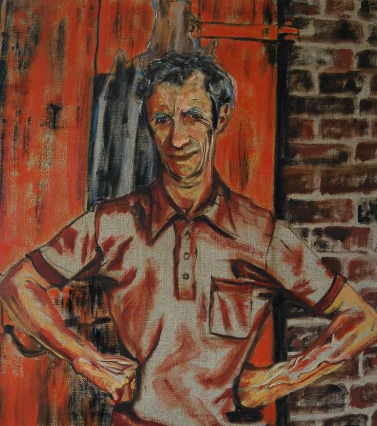 Olieverfschilderij De rode deur