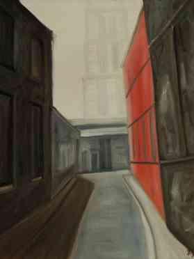 Olieverfschilderij Om de hoek