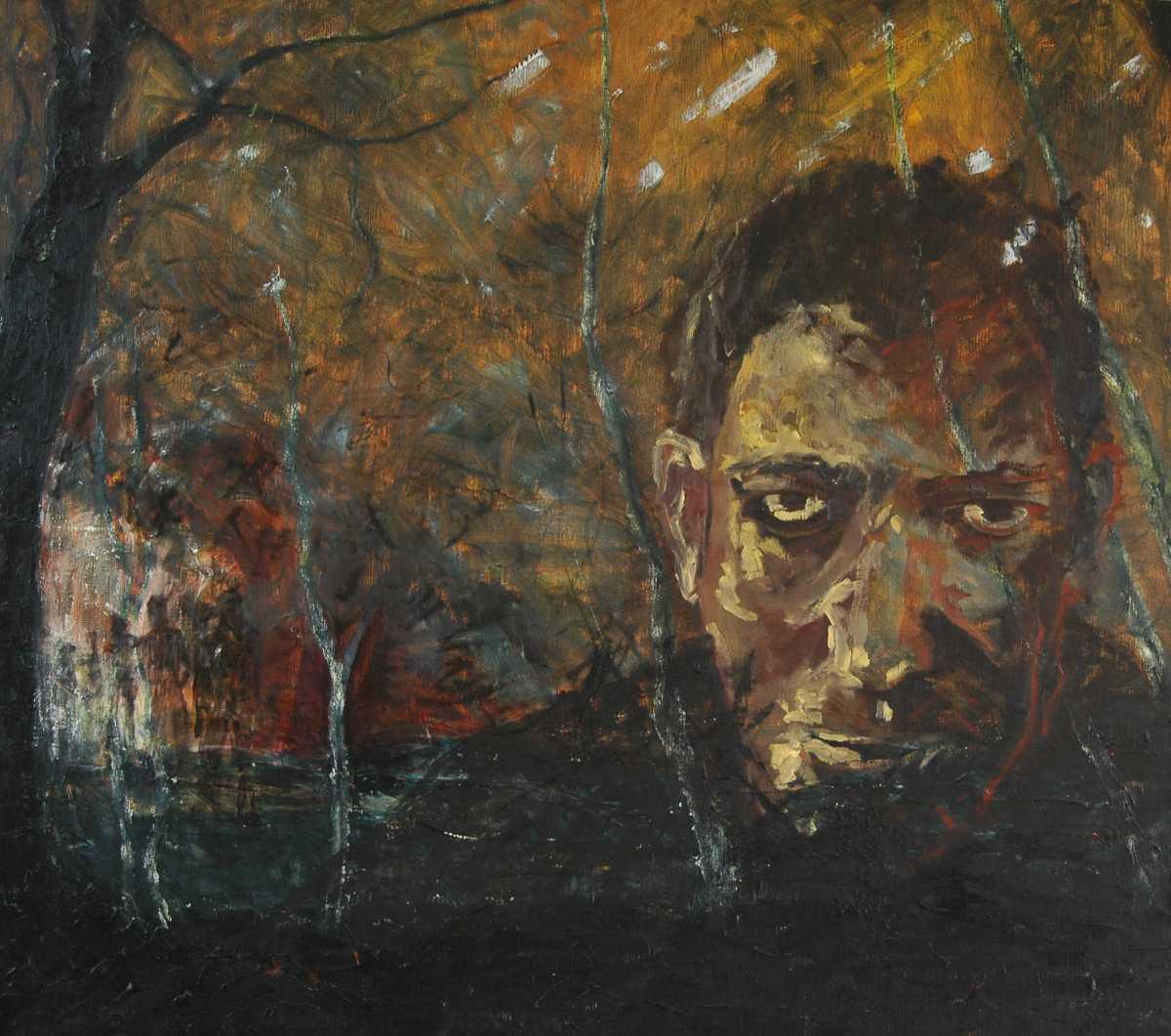 Olieverfschilderij Tussen licht en duister