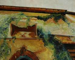 Olieverfschilderij Gevel met afhangend groen